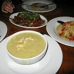 Mogolian Beef, Salad, Chicken coconut green curry (top to bottom)