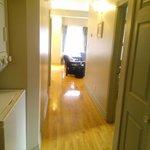 hallway w/ washer and dryer