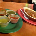 salsa sampler and charro beans