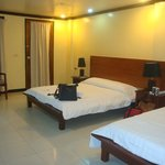 clean room with 2 beds: 1 queen & 1 single sized beds