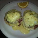 looking glass beny hemade cornd beef two eggs and hollandaise
