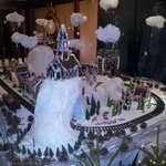 Some Christmas Decorations with Train Set out side their Museum