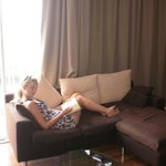 Wife relaxing on the comfy Chaise lounge in room