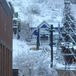 Zoomed in view of Town Lift from living room window.