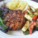 Balsamic Glazed Rosemary Pork Chop with Grilled Veggies and Mashed Potatoes