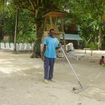 Moses, always making sure the surroundings are clean and tidy! Keep up the great job!