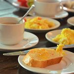 From our first day buffet breakfast: butter and marmalade on carrot bread and Spanish omelettes