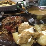 200g Rump with baked Spud & pepper sauce