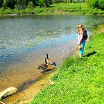 Kids exploring pond