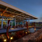 Indoor/Outdoor dining at dusk