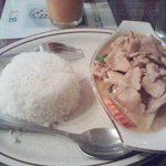 Spicy curry peanut sauce w/ chicken, rice and veg.
