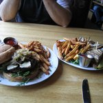 Burger and Reuben...we took half home!