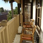 Long balcony with chairs & mini table
