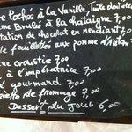 The desert menu