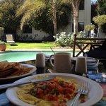 breakfast next to pool/garden