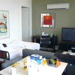 Room 2109 Living room with door to bed room.