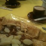 great coffee & apple/chocolate crepe