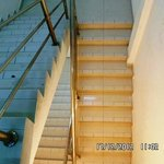 The stairs were covered with fine dust particles which poses risk, especially going down