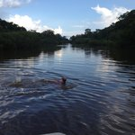 Swimming in the Tahuayo river.