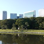 View of the hotel from Hama Rikyu gardens