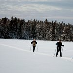 Skiing across Lake Gegoka
