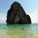 Swimming and snorkeling around the rocks