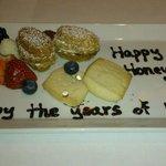 Our complimentary, congratulatory honeymoon dessert.