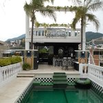 Outdoor pool with great views of PV