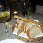 Fresh baked bread and lovely wine