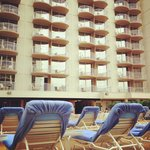 Room balconies from pool area