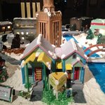 Austin icon gingerbread houses in lobby