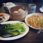 steamed juicy pork dumplings, choy sum with oyster sauce and thick noodles with pork. delicious
