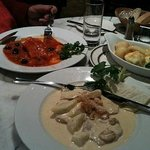 Baked pasta and veal tenderloins