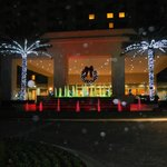 Front of Hilton decorated for Christmas & Hannukkah