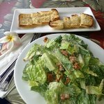 Caesar salad and garlic bread
