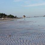 Por las mañanas al bajar la marea, el mar se reatrae aun mas un espectaculo maravilloso.