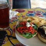 greek burger and oktoberfest real ale, mmmm