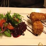 Lovely deep-fried smoked cheese starter