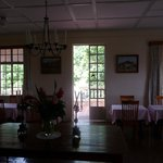 Dining room looking out to back terrace and jungle