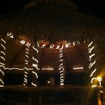 The main tiki hut/bar at night.