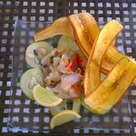 Ceviche accompanied by some savory plantains. Delicious!!!!!