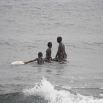 kids fishing and surfing