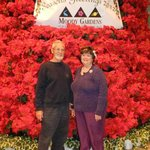 Another guest took our picture in front of the huge tree made from poinsettia
