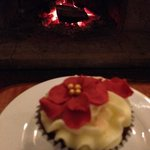 cup cake & log fire, cosy afternoon on leather  sofas