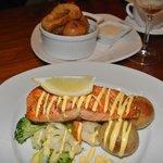 Giant onion-ring & salmon-fillet