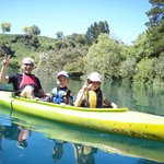 The whole family on the Waikato River