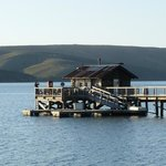 Nick's Cove pier. You can enjoy the yacht club boat shack.