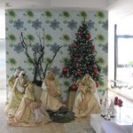 Christmas nativity at reception in hotel