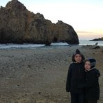 Cousins together, 7am Pfeiffer Beach.