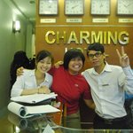 Phuong and Huy at reception desk